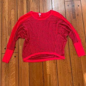 Splendid | Red & Navy Stripe Dolman Shirt w/ Solid